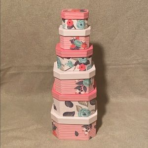 Nesting Boxes, set of 6 Floral, Pink and Teal